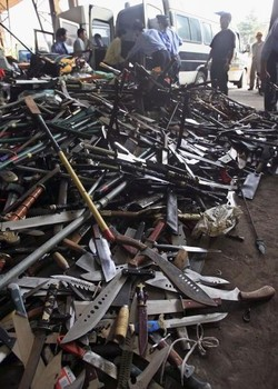 Illegal Guns And Knives Destroyed In Shanghai