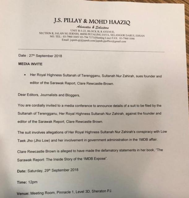 The Terengganu Sultanah files a RM300 million defamation