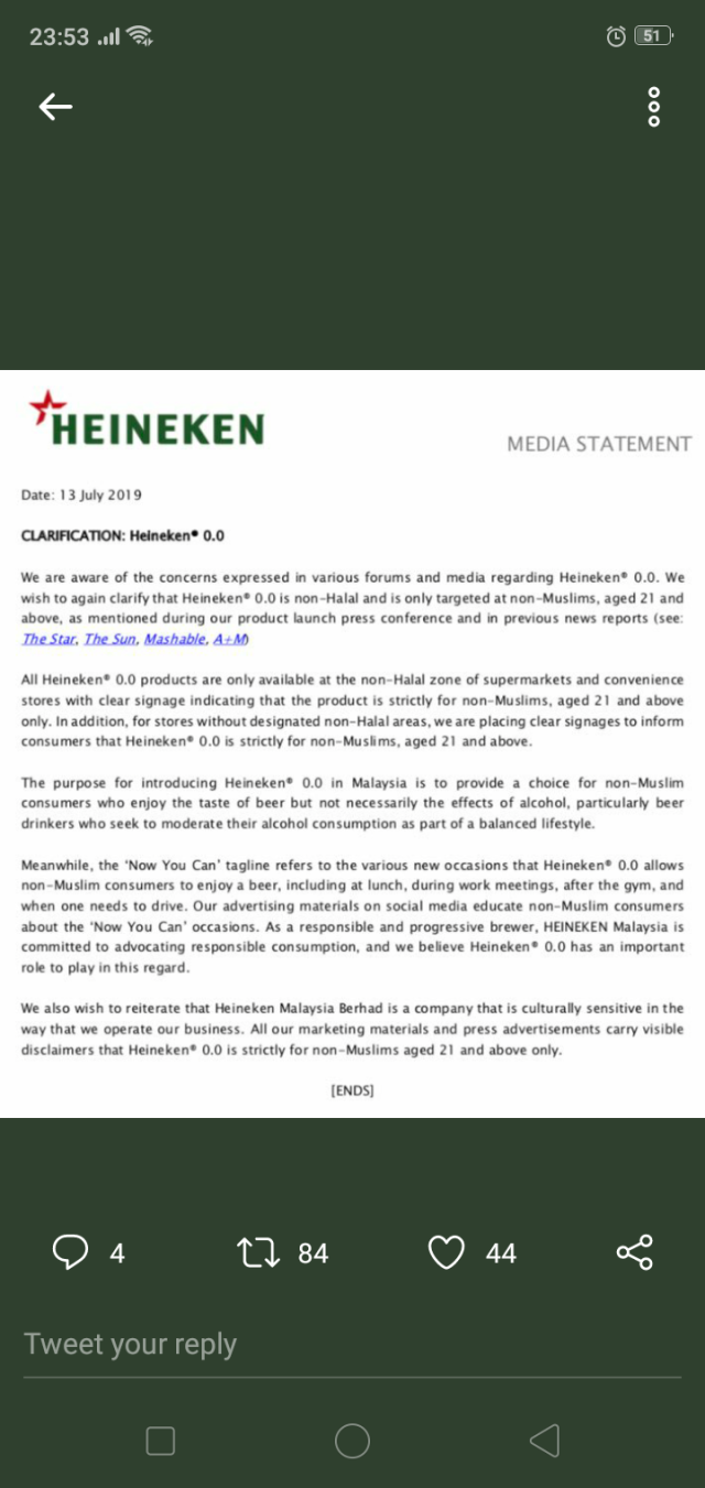 Heineken 0 0, the non alcoholic beer: No, Muslims can't  Jakim says