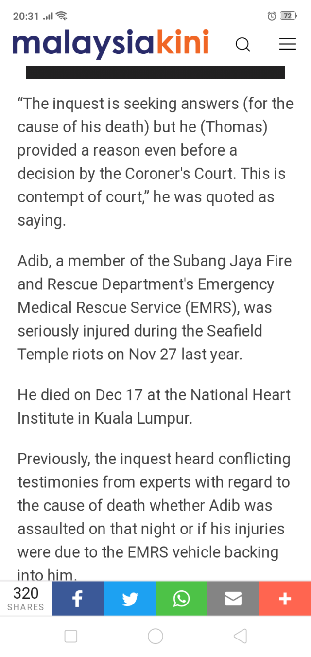 Fireman Adib's father wants to get AG Tommy Thomas cited for
